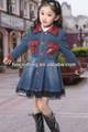 chica larga de mezclilla azul hermoso global de jean con vestido de encaje para los niños niñas dulce