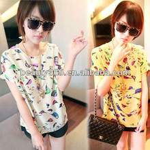 Women Colorful Birds Chiffon T-shirt Batwing Loose Blouse Casual Tee Tops 2 Colors