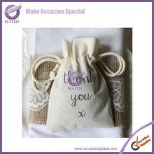 K0686-6 burlap chevron ribbon burlap bags with logo jute burlap gift bags