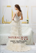 High couture custom made china a line layered bling organza skirt champagne colored wedding dresses for mature women
