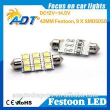 9SMD 5050 42mm 1042 Car Festoon Dome 9 led Light Bulbs DC 12VWhite LED