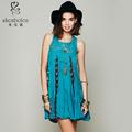 Lady dress algodão design exclusivo com floral crochet e malha detalhamento fornecedor OEM