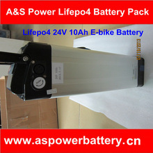 Rechargeable 10ah lifepo4 24v ebike battery with sliver fish case