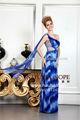 Moins de couleur bleu royal mousseline imprimée design robes du soir perlées indien. africains populaires robes de soirée