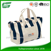strong 100% cotton canvas tote bag with stripe printing zipper closure