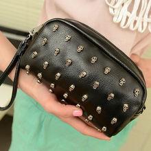 7597 Women New Fashion PU Leather Rivet Mini Messenger Bags Little Handbag, Rivet Day Clutches, Wallet