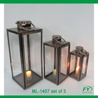 Set of 3 metal lantern/Garden candle holder