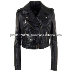 Leather Motorcycle Racing Jackets Women, Black Color, Latest Design