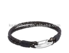 Top selling men's braided leather wrap charm hand made bracelet