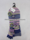 100%acrylic stripe scarf hat &glove sets with crochet flowers