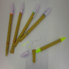 Hot paper barrel ball pen and highlighter for school and office gifts