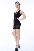 2014 Hotsales Black Cotton Lace Sexy abdominal corset