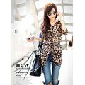 Mujeres otoño nueva moda de tres del cuarto del o-cuello leopardo gasa Casual Ruffles blusa 7683