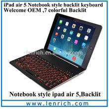 LBK179 NoteKee F9S for ipad air keyboard, aluminium keyboard with dock for ipad air/5 LED backlit illuminate keyboard case