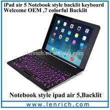 LBK180 NoteKee F8S New arrival aluminum wireless bluetooth keyboard for ipad 6 air 2 keyboard case LED backlit keyboard case