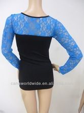 2014 newly sexy long sleeve hot clothes seamless top clothes blue lace