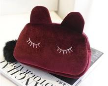 New handbags wholesale gold velvet kitten Cosmetic handbags with fur ball bag a generation of fat