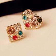 ali baba express fashion korea earrings, colorful crystal square heart earring