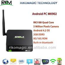 RKM MK902 Android4.2 MINI PC RK3188 Quad Core 2G RAM 8G/16G Nand flash Smart TV Box