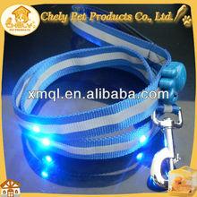 Customized Blue Ribbon LED Pet Leash With LED Flashing Pet Collars & Leashes