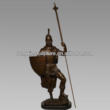 Bronze Sculpture Home Decor Metal Classic Roman Gladiator Sodier Spear Shield-Bronze Figure Sculpture