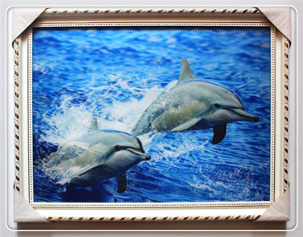 Huisdecoratie wallhanging twee kleine dolfijn 3d dierenfoto 39 s in frame schilderen kalligrafie - Afbeelding van huisdecoratie ...