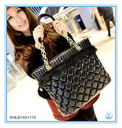 lady chain and grid handbag 2014 new trendy bag
