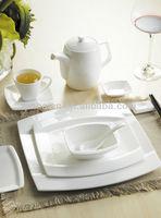 Arc shape series white body fine bone china rectangular dinner set