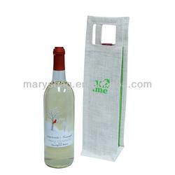 Biodegradable jute fabric Single Wine Tote Bag