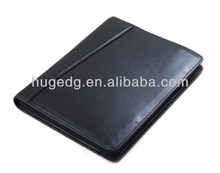 hot wholesale NEW design costom smooth pu leather A4 black zip organizers portfolio