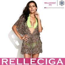 RELLECIGA 2014 Sexy Fancy Teenage Beach Wear - Leopard Print Sheer Caftan with Drawstring at Waistline.