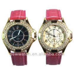 golden plating rhinestones custom logo fashion design pu leather ladies vogue watch