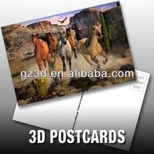plastic custom 3d pet postcard of horses