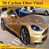 1.52*30m 3D carbon fiber vinyl golden yellow carbon fiber car pvc wrapping film