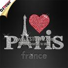 Custom Paris Love glitter clothing heat transfer iron on transfer