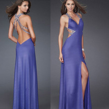 HE0202 plunging neckline purple strech satin open leg cut two sides jeweled straps sexy and cheap crisscross back halter dress