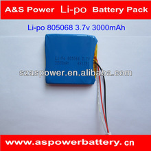 Rechargeable 805068 3.7v polymer 3000mah lithium battery for tablet pc