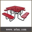Outdoor Park Garden Steel Metal Table and Bench with Umbrella (TB-12)