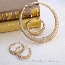 Round necklace Zinc alloy plating gold Arabic style jewelry set