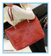Soft paint brand leisure middle age lady bag Stone grain female bag