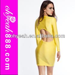 Back-open deep v neck nylon fabric sexy womens cub wear yellow knee length dress