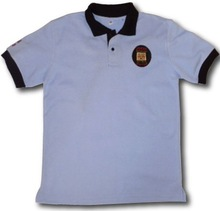 Mid BlueT shirt with logo embroidery $ 3.99 ( ISO 9001 Standerd Fabrics )