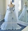 Casar com o bordado um- linha de manga comprida tradicional celtic wedding vestidos( my20140121h)