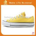 venda quente personalizado 2014 tênis de lona atacado amarelo