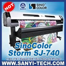 DX7 Canvas Printer SinoColor SJ-740, 1.6 / 1.8m Print width with Epson DX7 head