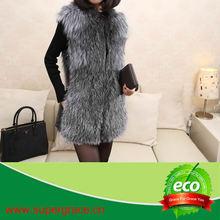 2013 Hot Selling High Quality Silver Fox Fur Vest/Natural Sleeveless Long Fur Vest