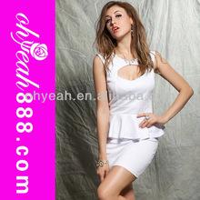 Cut front white apron ladies office wear dresses dress