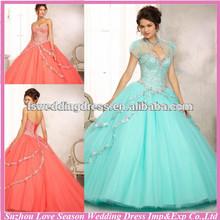Hq2076 ocidental barato coral frisada corpete em tule vestido de baile destacável jacket querida pescoço personalize quinceanera vestido