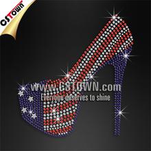 USA flag motif colors high heel bling iron on stone motif