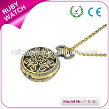 pocket watch pendant hollow bronze flower pocket watch open face pocket watch